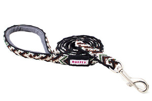 Durable, outdoor nylon dog leash in brown, green, and black