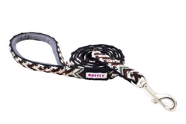 Tailwinds Leash for outdoor dogs in Woodlands Brown-Green strands of nylon thread