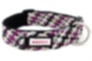 Purple handmade dog collar with no-jingle tag ring
