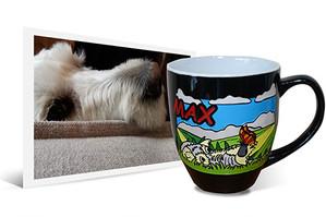 Engraved, hand-painted latte mug with dog image beside the original photo