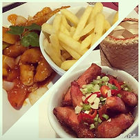 Sweet and sour chicken with chips & Cris