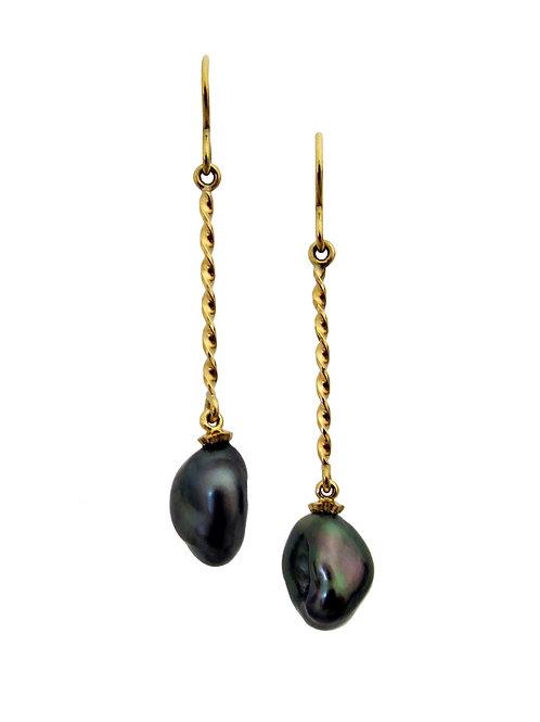 Keshi nugget wire earrings