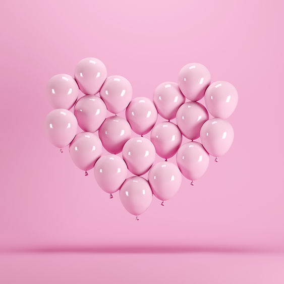 Heart shape made of Pink balloon floatin