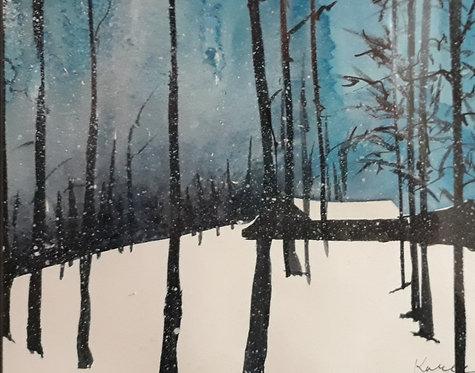 White Winter Cabin