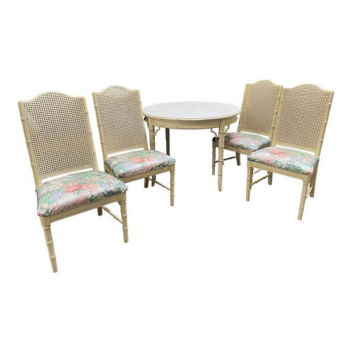 Vintage Chinoiserie Coastal Style Dining Table & Chairs