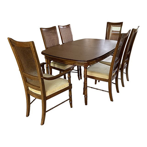 Mid to Late 20th Century Faux Bamboo Stanley Furniture Dining Set