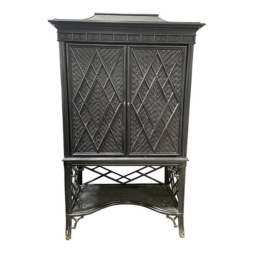 Pagoda Rattan Faux Bamboo Chippendale Style Fretwork Armoire Tv/ Bar Cabinet