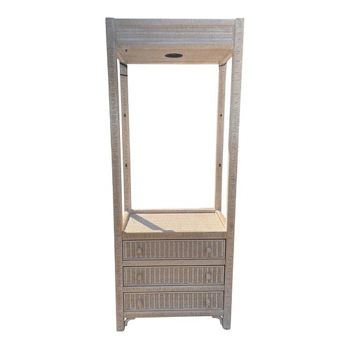 Vintage Henry Link Wicker Illuminated Display Cabinet