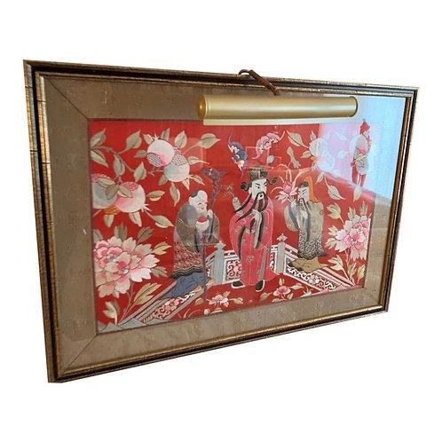 Vintage Chinoiserie Silk Wall Art & Light