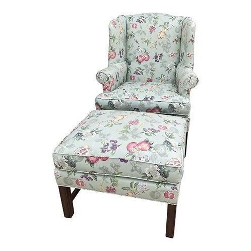 Upholstered Wingback Chair & Ottoman Set