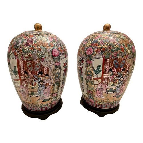Vintage Large Chinoiserie Ginger Jars- a Pair