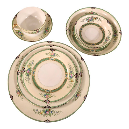 "1940's Noritake China ""Leandro"" Dinnerware 7 Piece Place Settings"