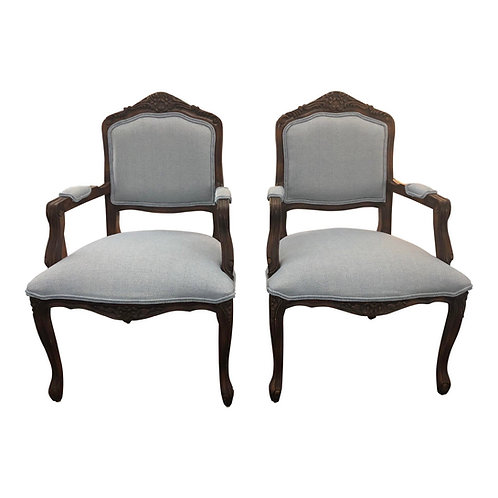 Louis XV Style Reupholstered Armchairs- Set of 2