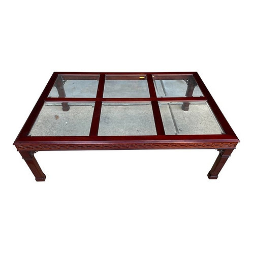 Late 20th Century Fretwork Chinoiserie Style Coffee Table by Kindel Furniture