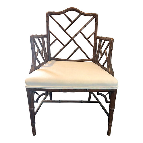 Newly Reupholstered Vintage Chinese Chippendale Armchair