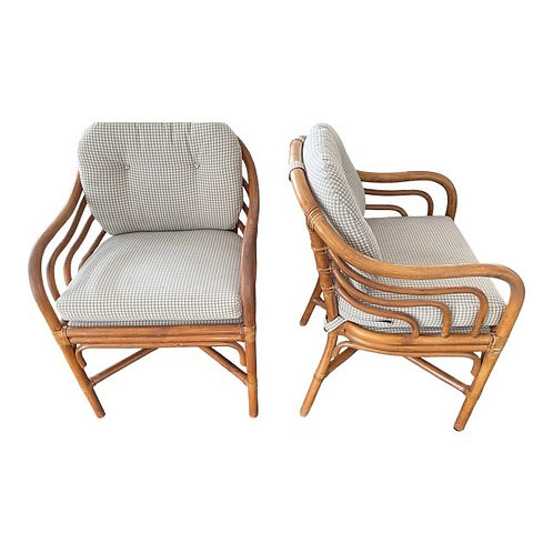 Mid Century Pair Brown Jordan Sculpted Bent Rattan Dining Armchairs