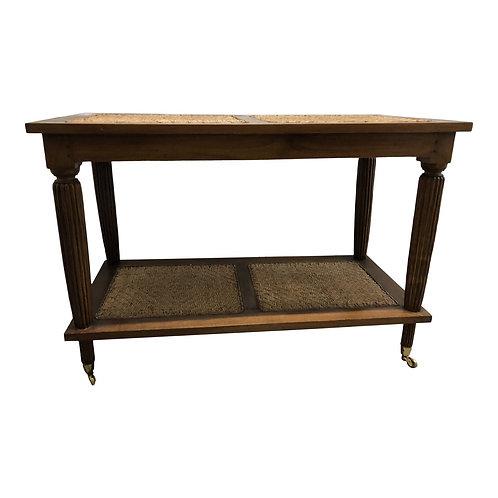 Mid 20th Century Rattan & Wood Bar Cart
