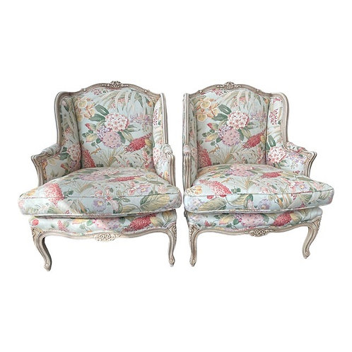 Late 20th Century French Louis Style Bergere Chairs- a Pair