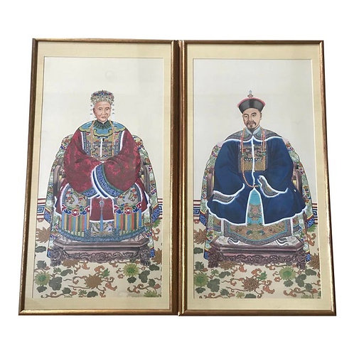 Mid 20th Century Emperor & Empress Framed Paintings- a Pair