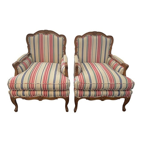 Late 20th Century Baker Furniture Bergere Chairs- a Pair