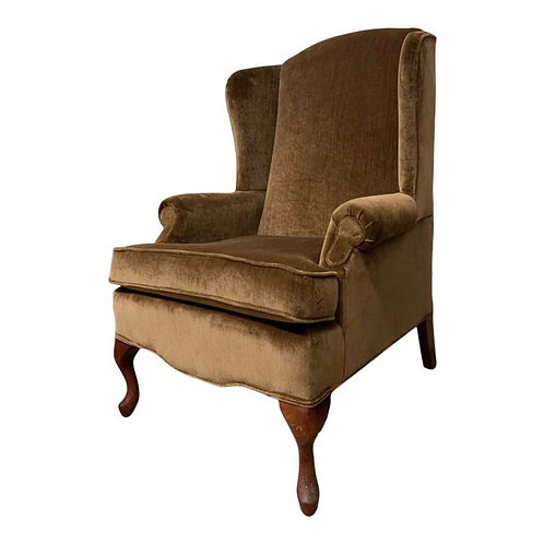 Mid to Late 20th Century Mohair Wingback Chair
