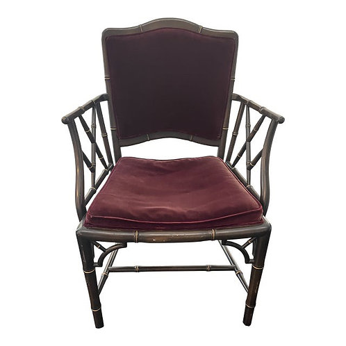 Mid 20th Century Chinoiserie Faux Bamboo Armchair