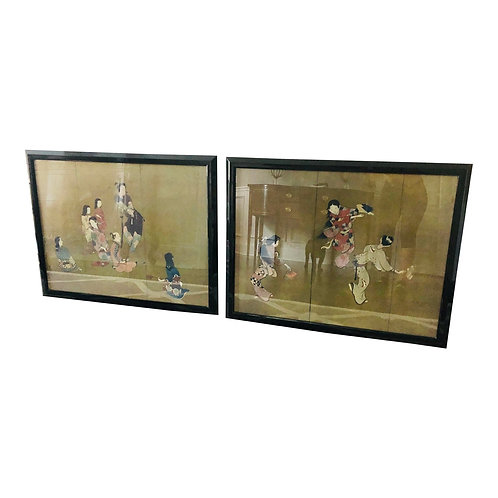 Late 20th Century Chinoiserie Samurai Wall Art - a Pair