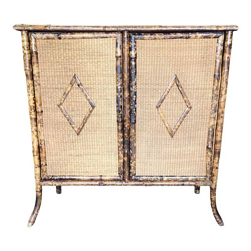 Late 19th Century Antique English Wicker & Bamboo Cabinet