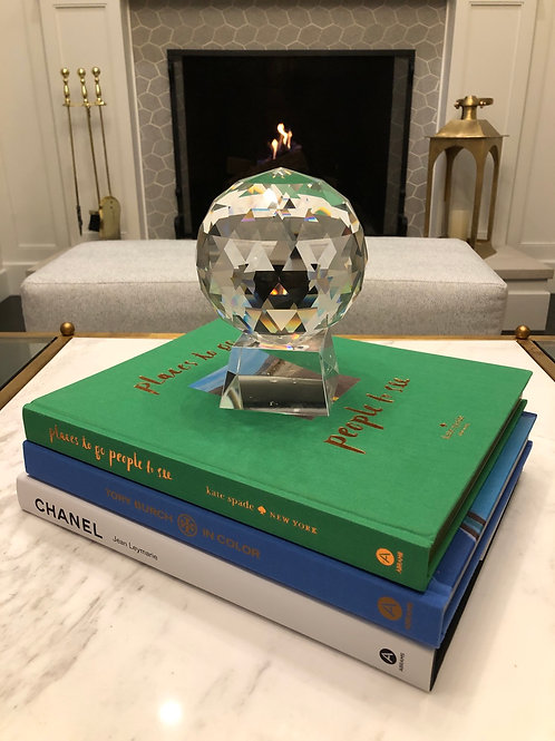 Transitional Style Cut Glass Decorative Ball