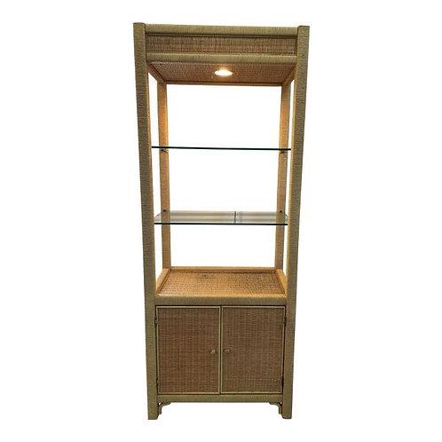 Vintage Coastal Wicker Rattan Illuminated Etagere Display Cabinet