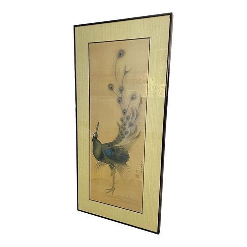 Late 20th Century Chinoiserie Peacock Wall Art