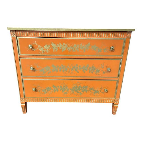 Antique Painted French Inspired Orange Chest