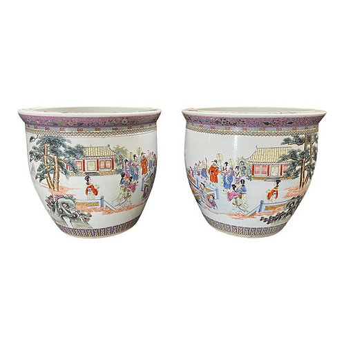 Late 20th Century Extra Large Chinoiserie Planters- a Pair