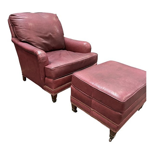 Vintage Leather Chair & Ottoman Set by Leathercraft Inc