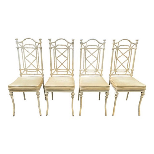 Metal Faux Bamboo Patio Dining Chairs- Set of 4