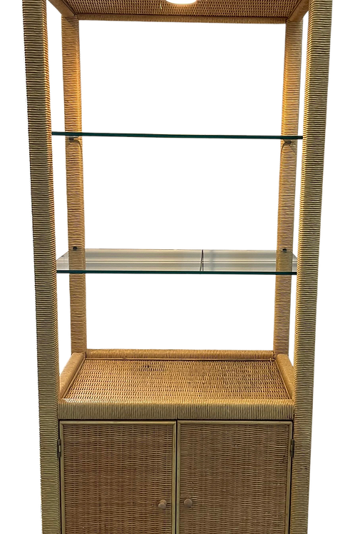 Vintage Coastal Wicker Rattan Illuminated Etagere Display Cabinet