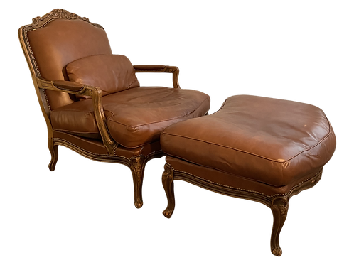 Chateau d'Ax French Louis XV Style Fauteuil Chair & Ottoman