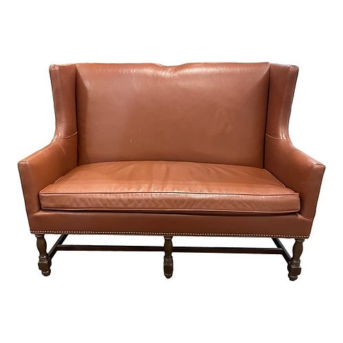 Vintage Leather Settee by North Hickory Furniture Company