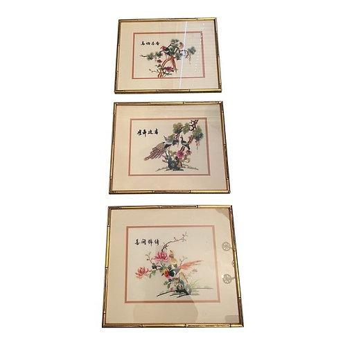 Vintage Late 20th Century Needlepoint Chinoiserie Artwork- Set of 3