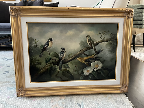 Late 20th Century Framed Chinoiserie Bird Oil Painting Print