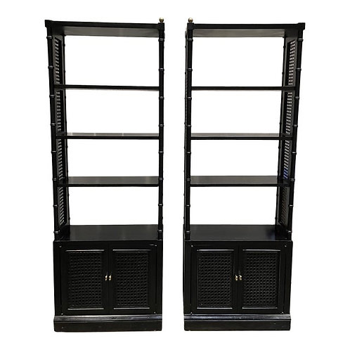 Vintage Coastal Style Wicker & Faux Bamboo Display Cabinets- a Pair