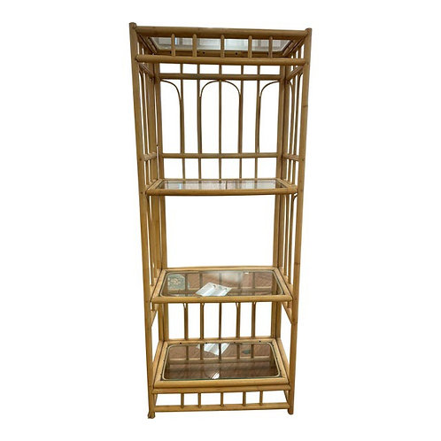 1970's Bamboo & Glass Etagere Display