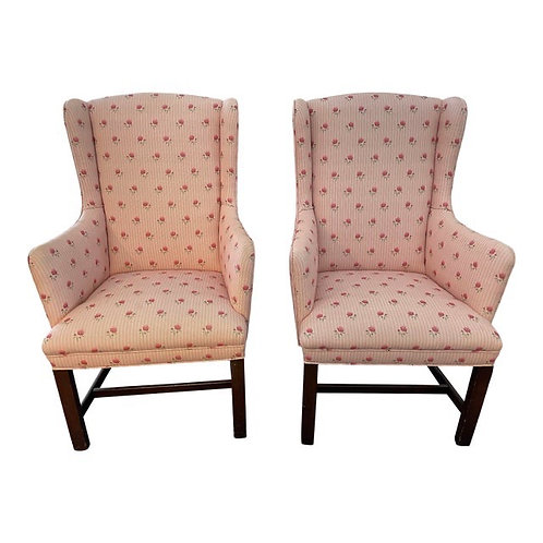 Late 20th Century Upholstered Accent Chairs- a Pair
