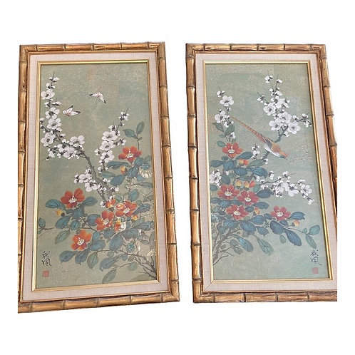 Mid 20th Century Framed Chinoiserie Wall Art- a Pair