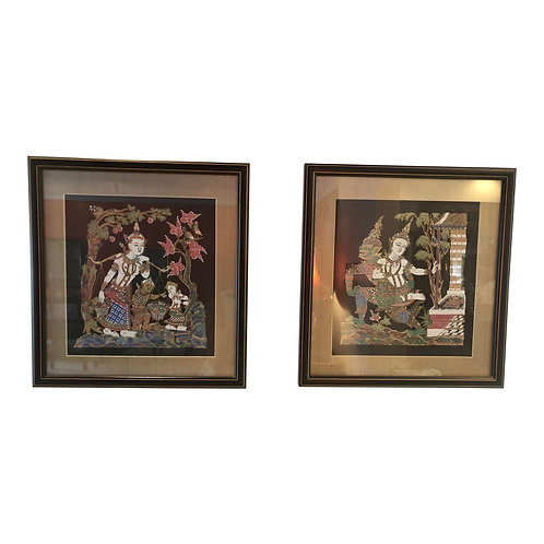 Late 20th Century Chinoiserie Paintings - a Pair
