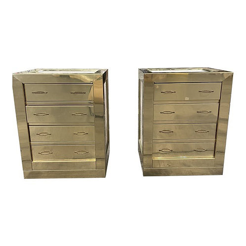 Mid to Late 20th Century Brass Chests- a Pair