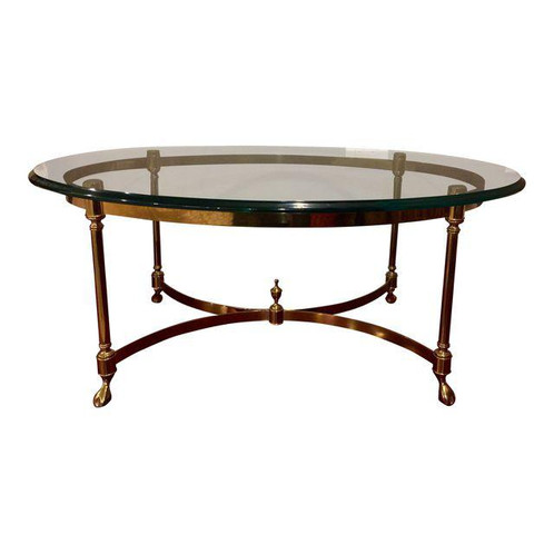 This Traditional Brass Coffee Table Features A Warm Patinated Base And  Heavy Thick Beveled Glass Top. One Owner Purchased Over 20 Years Ago And  Very Well ...
