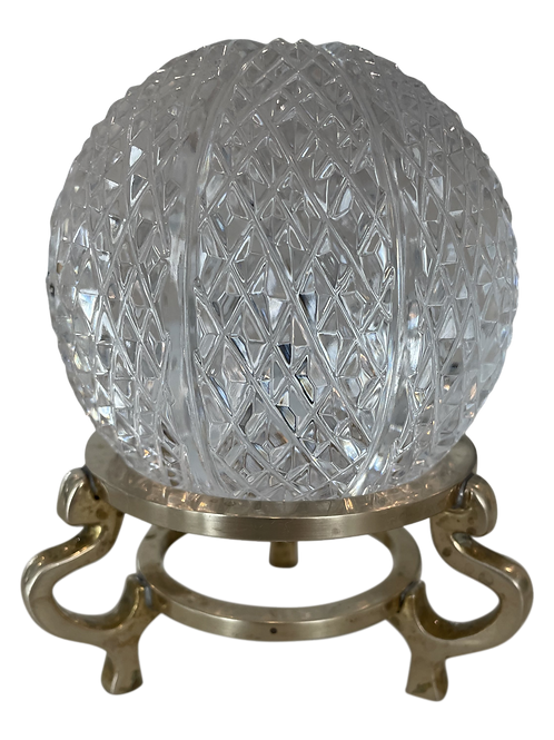 Late 20th Century Hand Cut Crystal Ball & Brass Stand