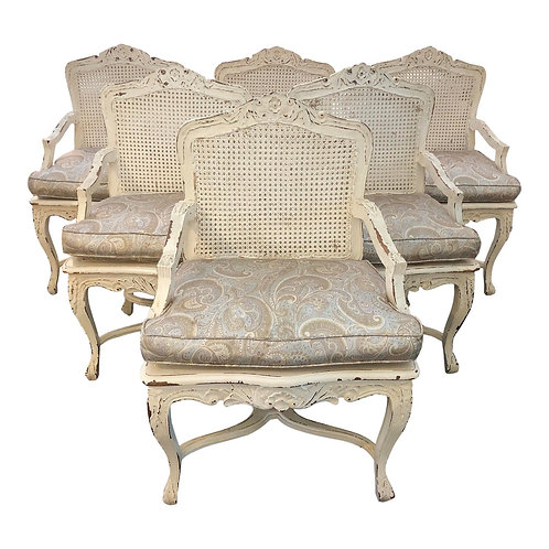 Late 20th Century French Provincial Cane Armchairs- Set of 6