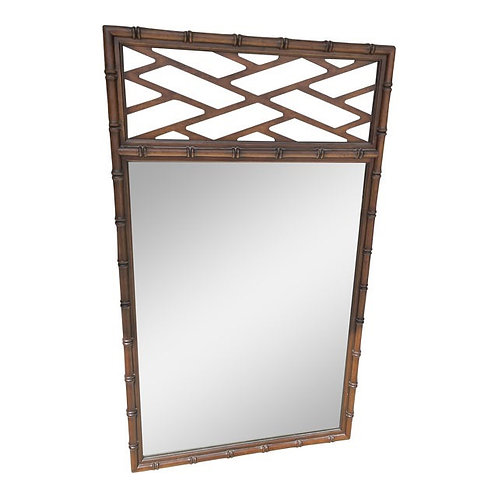Mid to Late 20th Century Faux Bamboo & Trellis Mirror by Kindel Furniture